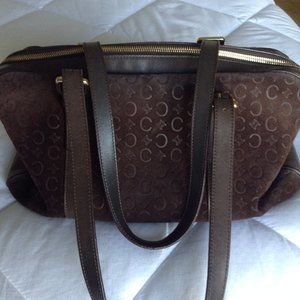 Authentic Celine Purse Suede Brown Monogram
